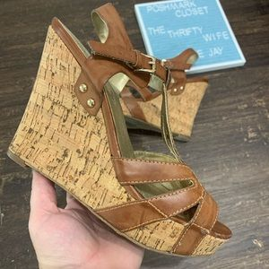Guess Cork Brown Strappy Wedges Size 9